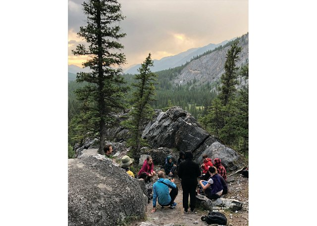 """Documentation photographs from the """"Outdoor School"""" residency at the Banff Centre for Arts and Creativity, led by Amish Morrell, Diane Borsato and Tania Willard, in 2018. (courtesy Diane Borsato)"""