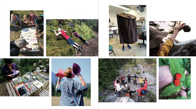 """An outdoor gathering as part of the """"Outdoor School"""" residency at the Banff Centre for Arts and Creativityled by Amish Morrell, Diane Borsato and Tania Willard, in 2018. (courtesy Diane Borsato)"""