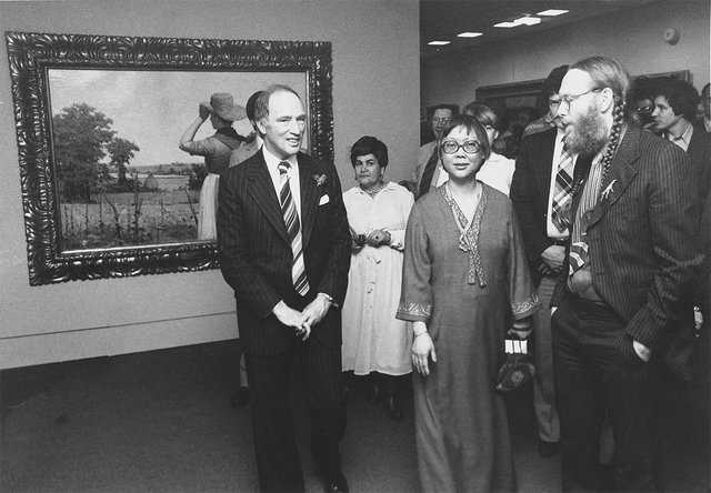 """Prime Minister Pierre Elliott Trudeau, Hsio-yen Shih, and Charlie Hill at the opening of """"To Found a National Gallery: The Royal Canadian Academy of Arts, 1880–1913,"""" at the National Gallery of Canada"""