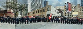 """Scott McFarland, """"Corner of the Courageous, Repatriation Ceremony for Private Tyler William Todd, Grenville St., Toronto, Ontario, April 14, 2010"""""""