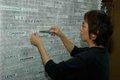"Amy Loewan constructing ""A Peace Project."""