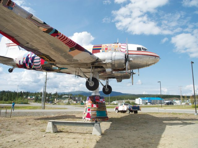 """After shot of the DC-3 yarn bomb in Whitehorse."""