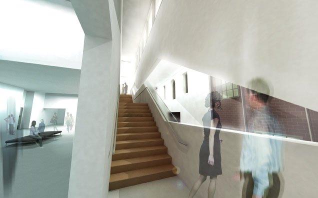 """Rendering of the interior of the restored Art Gallery of Grande Prairie."""
