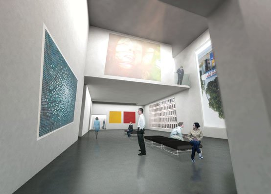 """Rendering of the interior of the restored Art Gallery of Grande Prairie."""
