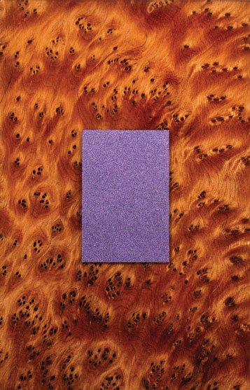 """Purple Rectangle on Thuya Burl"""