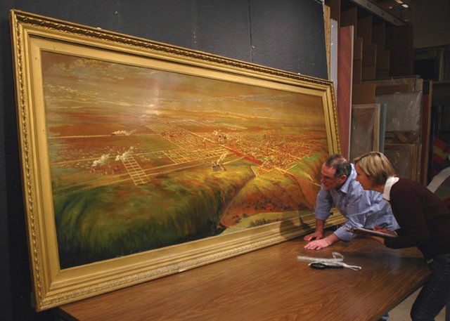 """Condition reporting the painting, """"City of Lethbridge c. 1919"""""""