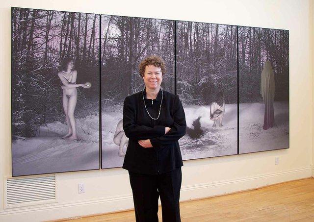Karen Dugas at the exhibition.