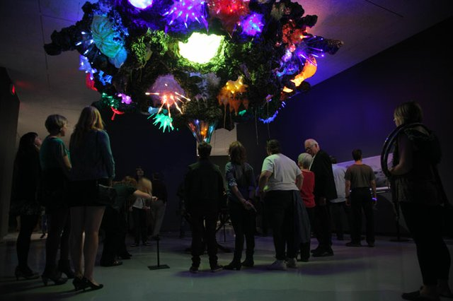 Nuit Blanche visitors look at Sarah Anne Johnson's Untitled (Schooner and Fireworks)