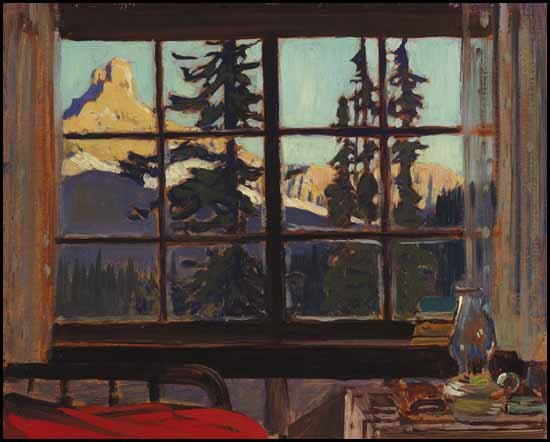"""Morning, Mountain Camp (Cathedral Peak from O'Hara Camp)"""
