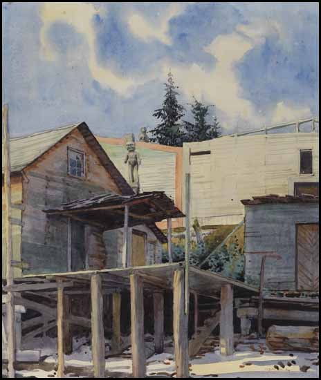 "Walter Joseph (W.J.) Phillips, ""Karlukwees, BC"" (Siwash Winter Village) circa 1927"