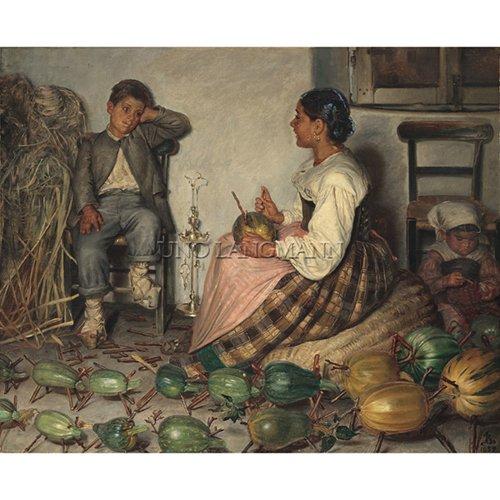 "ZAHRTMANN, PETER HENRY KRISTIAN (Danish 1843-1917) ""AN ITALIAN GAME"""