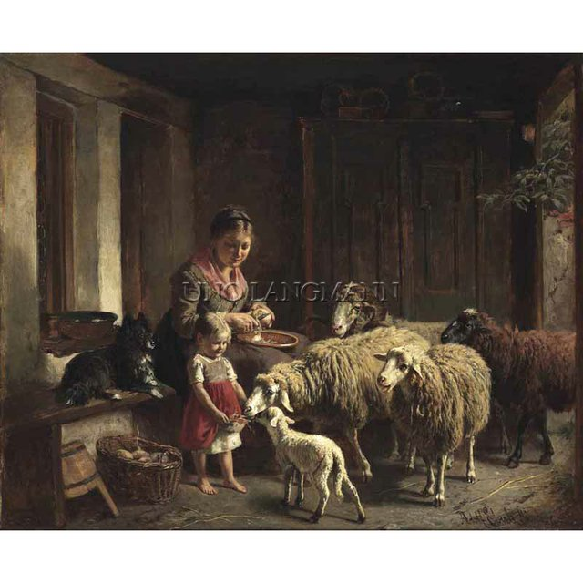 "EBERLE, ADOLF (German 1843-1914) ""FEEDING TIME"""