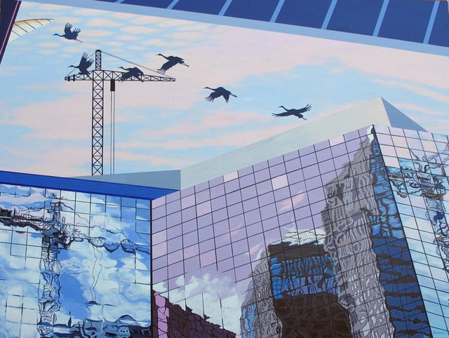 """Skyscape with Cranes"""