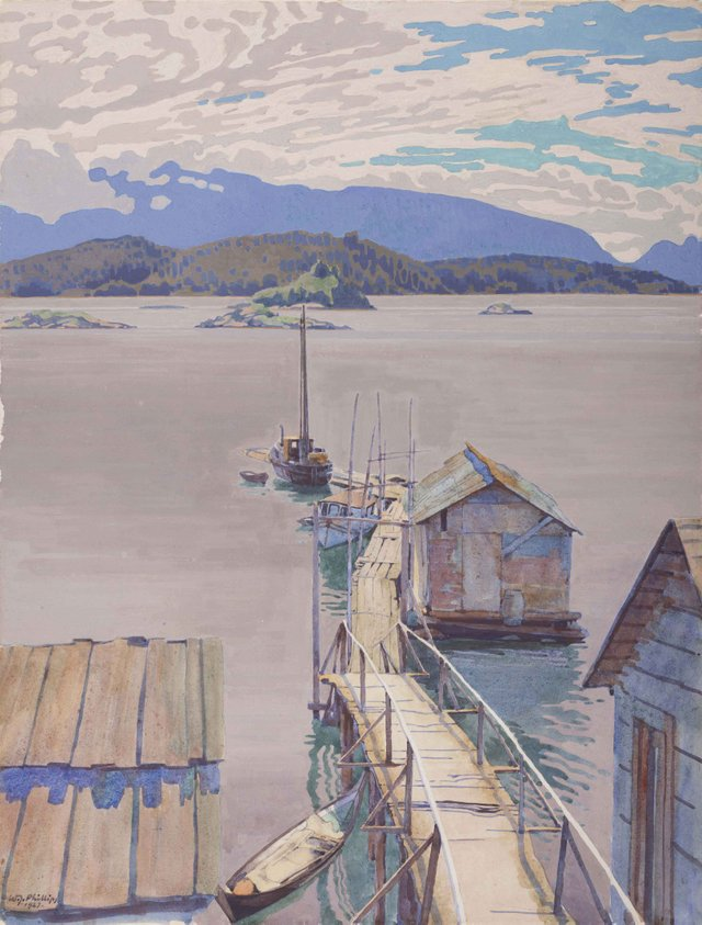 "Floating Dock, ""Mamalilicoola, British Columbia"", 1927"