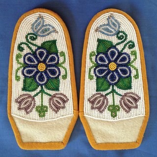 """Moccasin tops created by Florence Moses of Whitehorse"""