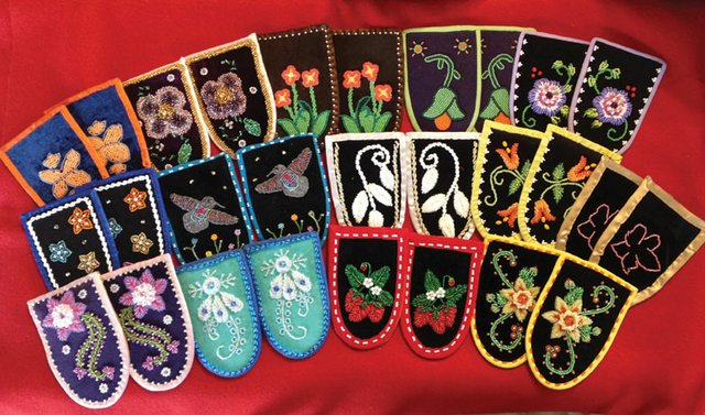 """Moccasin tops created by beadworkers from the Cattaraugus Reservation in New York"""