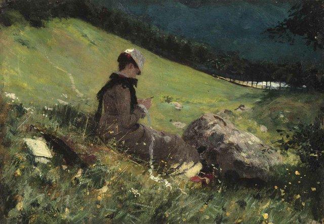 "DAHL, HANS (Norwegian 1849-1937) ""Helen Knitting"""