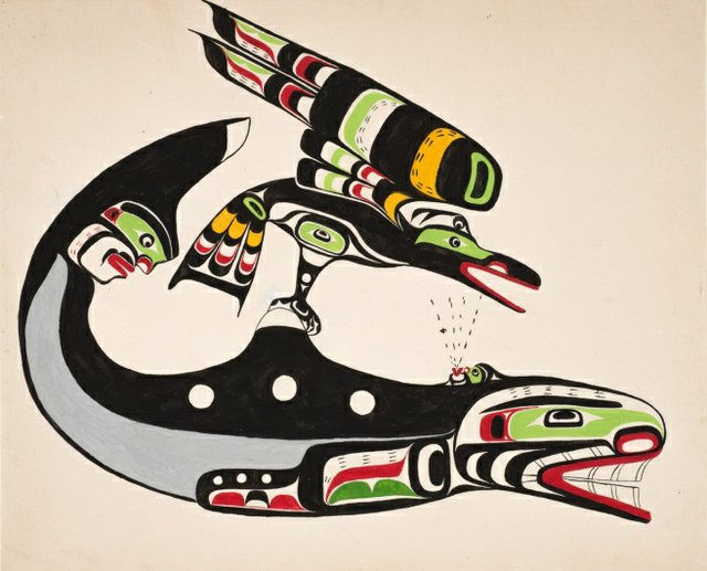 "Chief Nakaṕankam, Mungo Martin, ""Raven and Whale"", 1960"