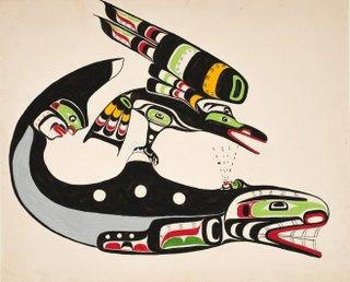 """Chief Nakaṕankam, Mungo Martin, """"Raven and Whale"""", 1960"""