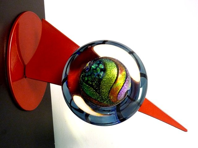 Rollin Karg- Large Glass Planet mounted on Red River Stand, 14in Tall, $350.jpg