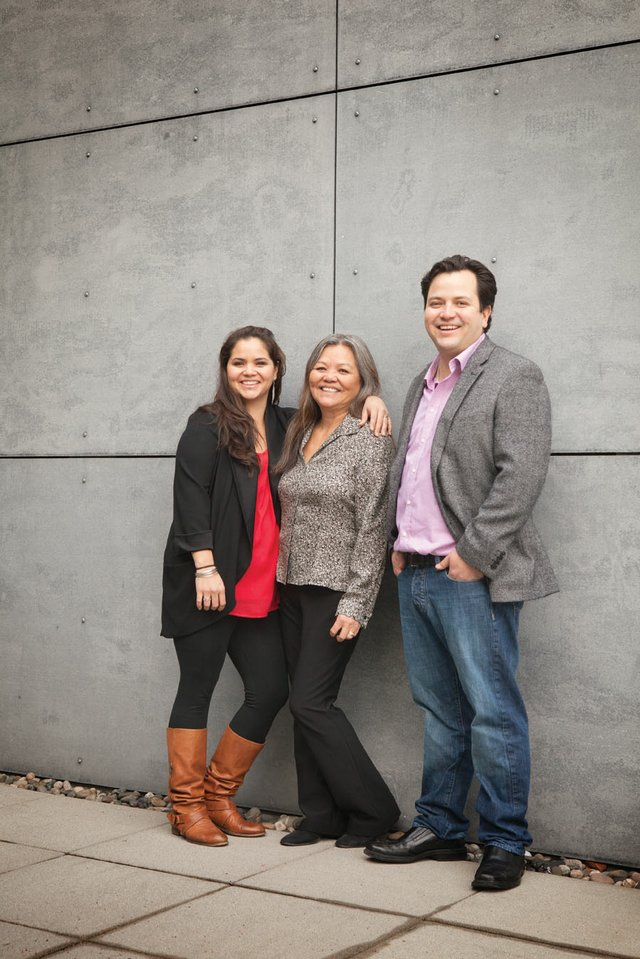 """""""Susan Point, with her daughter, Kelly Cannell, and son, Thomas Cannell"""""""
