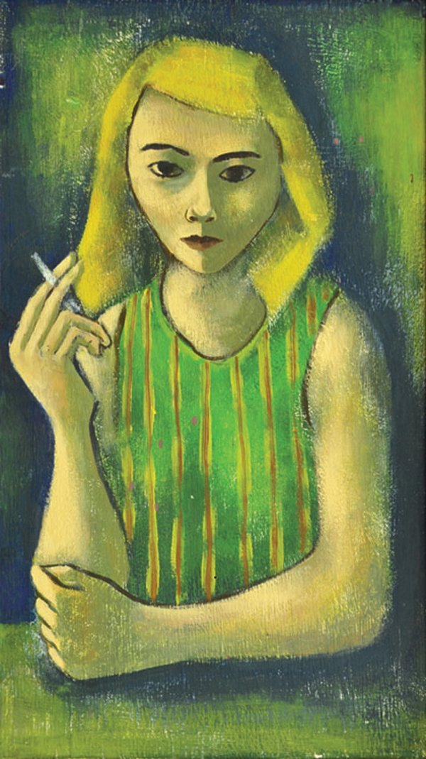 """Woman / Green Striped Blouse"""