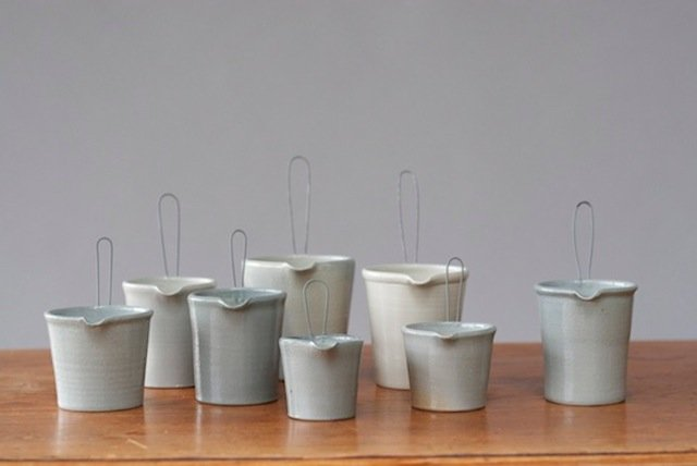 """Salt-fired ceramic creamers"""