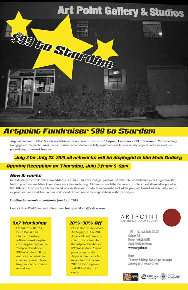 """$99 to Stardom"" call for submissions poster"