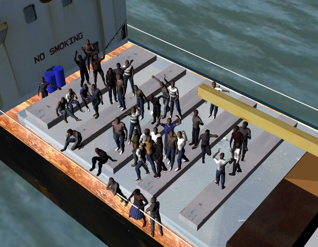 """""""Rendering from 3D model - Untitled Migrant Ship Project"""""""