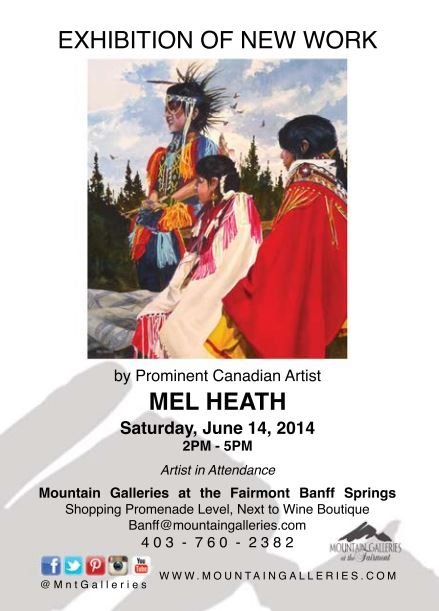 Mel Heath exhibition poster at Mountain Galleries at The Fairmont Banff Springs.