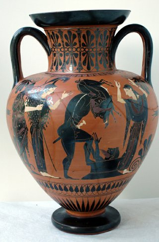 Attic black-figure neck amphora with Herakles and the Erymanthian Boar, 530-520 BC