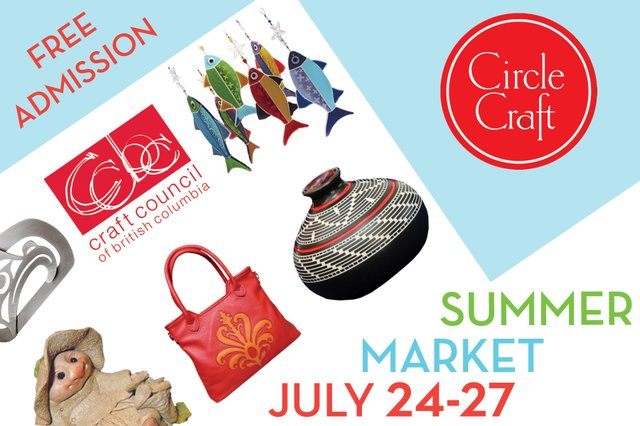 """The Craft Council of British Columbia and Circle Craft Cooperative Summer Market poster"""
