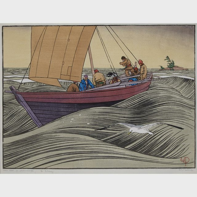 "Walter Joseph Phillips RCA ""York Boat on Lake Winnpeg"" 1930"