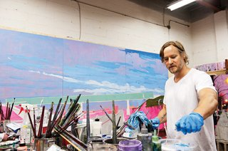 Kim Dorland works in his Toronto studio