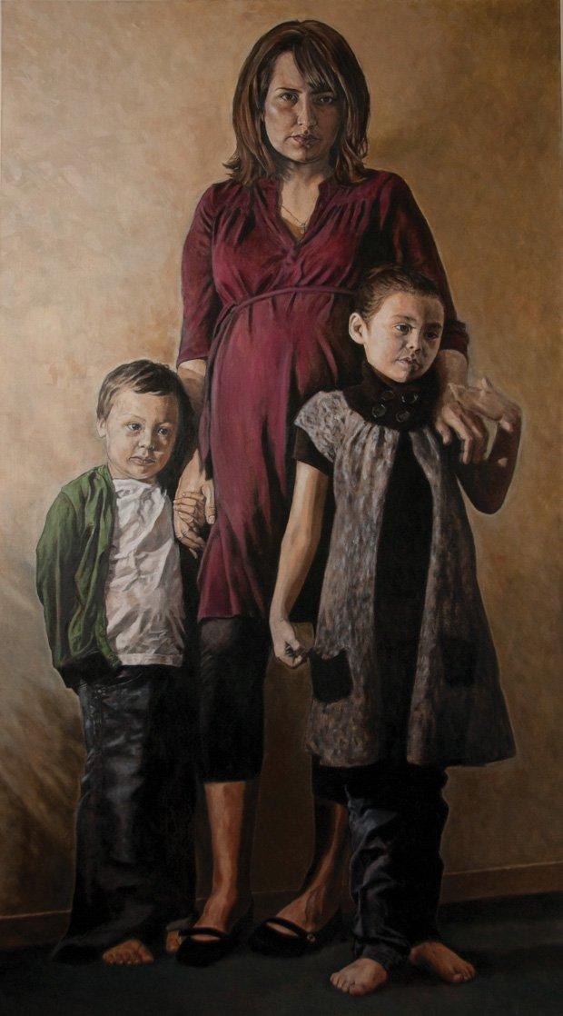 """Felicia Gay and her children Osawask & Zoe"""