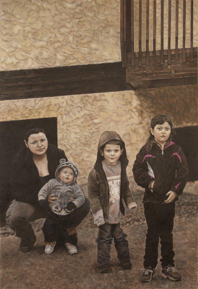 """"""" Dannié Boucher with her children Deacon, Xavié, and Chloé,"""""""