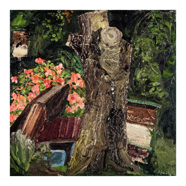 """""""Ackee Tree with Begonia and Bee Boxes"""""""
