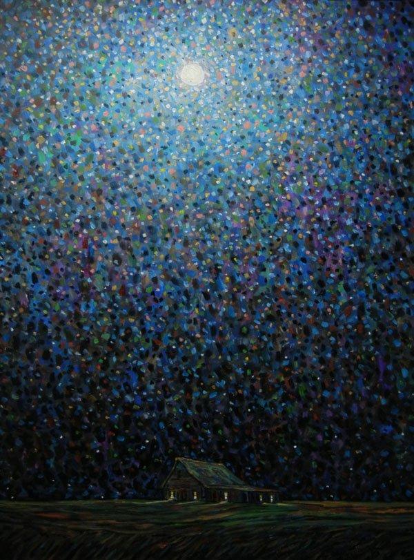 """Prairie Shack in Night Light"""