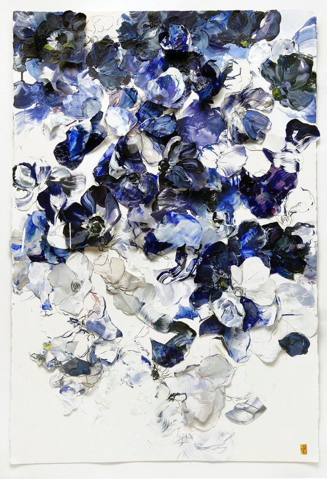 """Blue Anemones: Fluttered Staggered #2"""