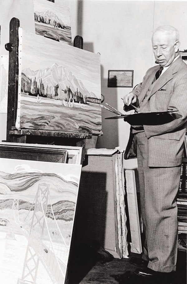 """A.Y. Jackson painting in his Toronto studio"""