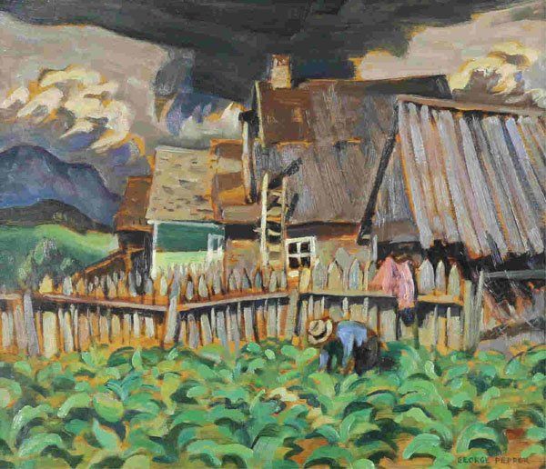 "George Douglas Pepper, ""TOBACCO PATCH, ST. URBAIN, P.Q."""