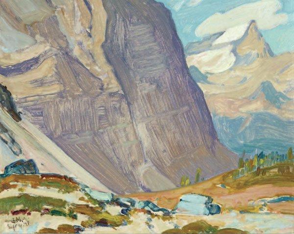 "JAMES EDWARD HERVEY MACDONALD, ""NEAR MT ODARAY, ROCKY MTS"" 1928"