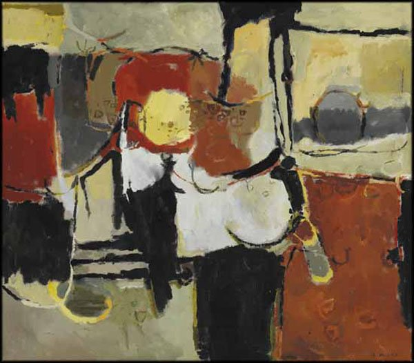 """GORDON APPELBE SMITH  """"Still Life with Red and Black"""" circa 1957"""