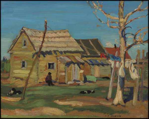 """ALEXANDER YOUNG (A.Y.) JACKSON """"Indian Home, Great Slave Lake, Fort Resolution"""" circa 1928"""