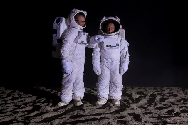 "John Wood and Paul Harrison, ""Bored Astronauts on the Moon"""
