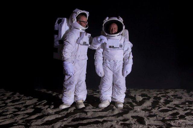 "John Wood and Paul Harrison, ""Bored Astronauts on the Moon"""