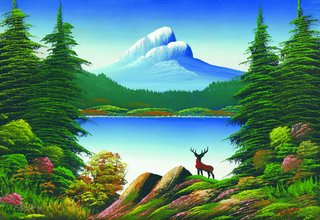 """""""Untitled (Mountain lake with deer)"""""""