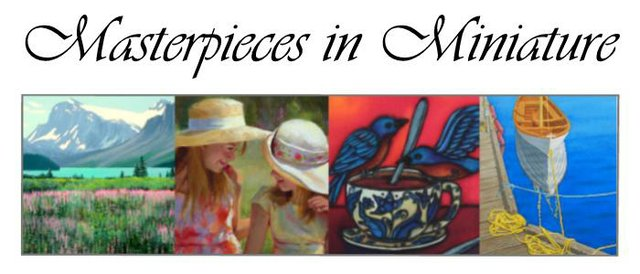 """Masterpieces in Miniature"" banner"
