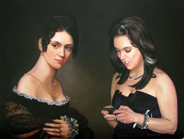 """Stephanie and a Lady in a Flowered Shawl (after Salomon Counis)"""