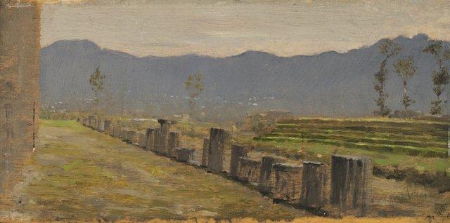 "GIUSEPPE DE NITTIS (Italian 1846-1884) ""VIEW OF POMPEII"""